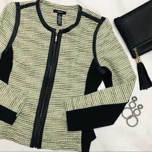 Alfani Edgy Tweed Faux Leather Trim Blazer 10